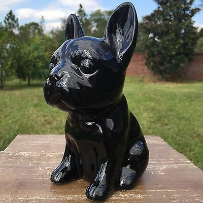 NEW French Bulldog Black Ceramic Figurine Hipster Dog Home Decor Frenchie Bully