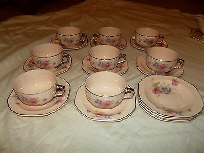 19pc Cups & Saucers, Glo Peche ware Limoges Sebring Ohio The Pansy 4M133 Pink
