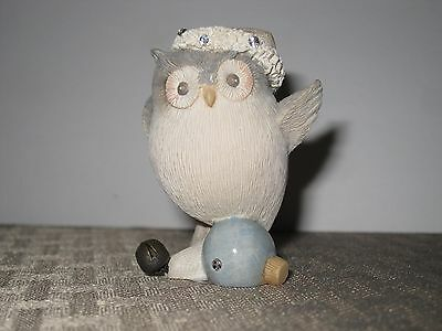 Foundations Owl on Ornament Christmas Figurine enesco