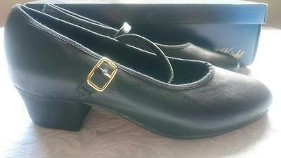NEW Paul Wright Black Leather Character Cuban Heel Dance Shoes Size 3.5