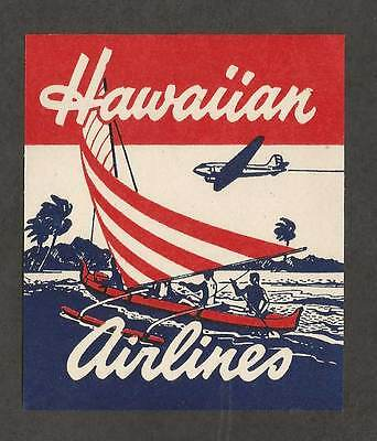 Hawaiian Airlines Vintage Luggage Label Decal Hawaii Travel plane schooner