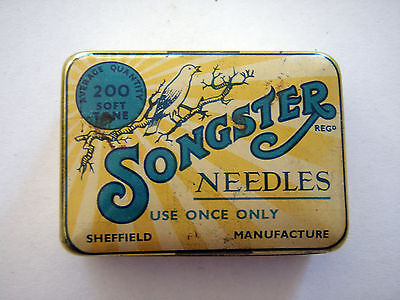 "Vintage Highly Refined ""Songster"" Soft Tone Gramophone Needle Tin."