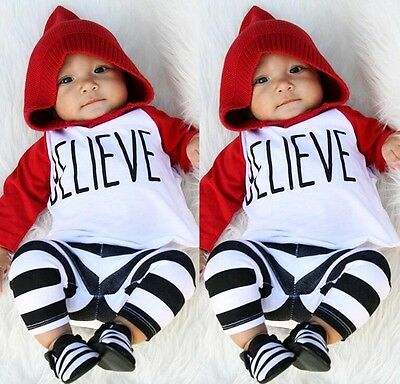 Cute Newborn Baby Boys Girls Clothes Cotton Tops +Striped Pants 2PCS Outfits Set