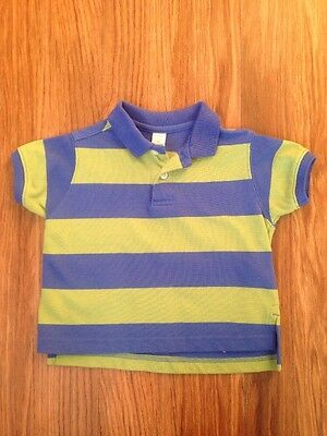 Lands End Baby Boy Green & Blue Striped Polo Shirt Size 6 Months
