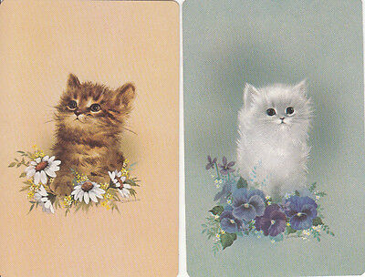 Vintage Swap/Playing Cards - 2 SINGLE- GIORDANO CATS / KITTENS IN FLOWERS