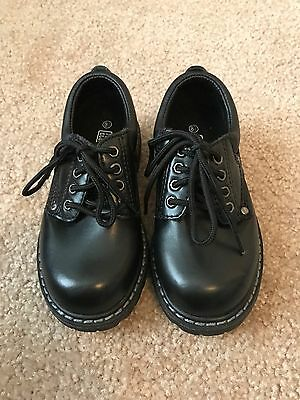 Faded Glory Toddler Boys Size 8 1/2 Black Dress Shoes