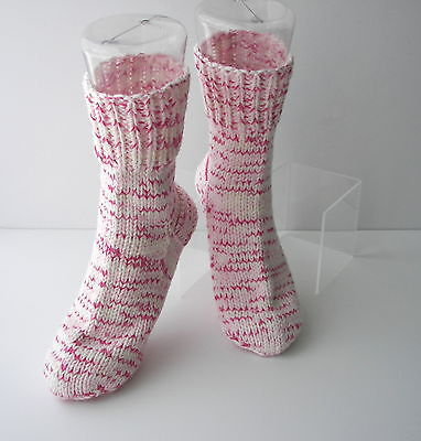 ROSE Hand Knit UNIQUE Adult SOFT Wool Cotton Extra Thick Socks / Unique Gift