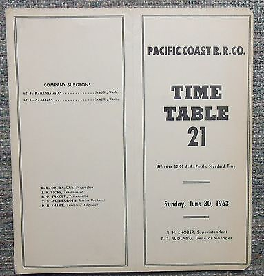 Pacific Coast Railroad 1963 System Employee Timetable