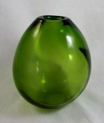 Holmegaard Very Rare May Green Drop Vase Signed Per Lutken Retro Modern