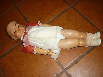 "Vtg Large RUBBER BABY GIRL DOLL APPROX 24"" Long  SLEEPING GREEN EYES Crying"