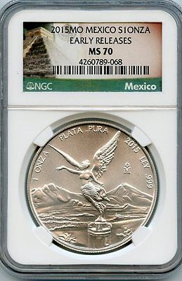 2015Mo Mexico S1Onza Ngc Ms70 Early Releases Libertad*1 Troy Oz .999 Fine Silver