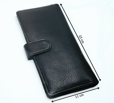 Black Mens High Quality Real Leather Long Wallet Business Id/credit Card Holder