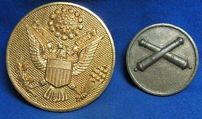 WWI British Made Army Artillery Enlisted Disc and Hat Badge by J.R. Gaunt