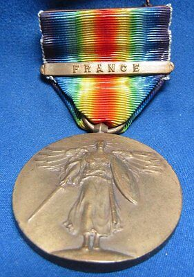 WWI Victory Medal and Ribbon With France Bar GREAT SHAPE