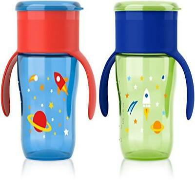 Count 2 Philips Avent My Natural Drinking Cup 9 Ounce Green/Blue/Red Stage 4 Dis