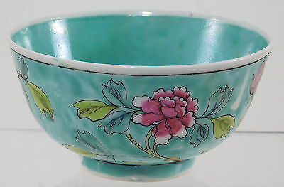 Vintage One Chinese Turquoise w/ Flowers Porcelain SOUP/RICE BOWL