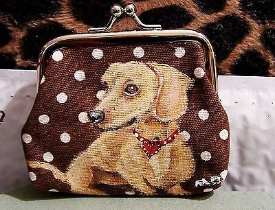 "Dachshund original art real brush painting change purse size  3""x4""x1"""