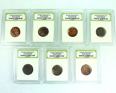 "7 Slabbed ""Pirate"" Coins - Bronze American Spanish Cobs - 7252"