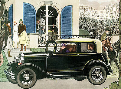 1931 Original New FORD Model 4-Passenger VICTORIA Big Page COLOR Motor CAR AD.
