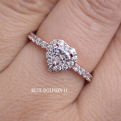Real Genuine Solid 9ct Rose Gold Engagement Wedding Dress Ring Simulated Diamond