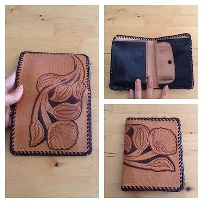 Vintage 70S Tooled Leather Wallet Billfold Boho Hippy Western Country Retro