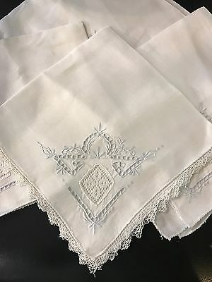 Beautiful Vintage Linen Napkin Set Lace Panels Embroidered White