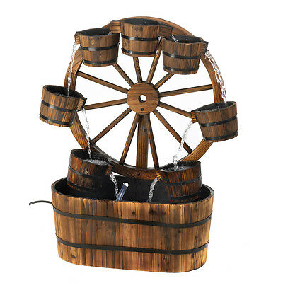 New Wagon Wheel Water Fountain Country Charm Wood Outdoor Garden Decor