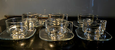 Vintage Retro JOE COLUMBO  glass Coffee cups and saucers x 6 Mid century Italy