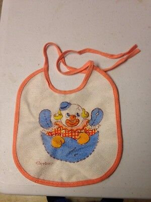 Vintage Gerber Baby Peach White Friendly Clown Bib