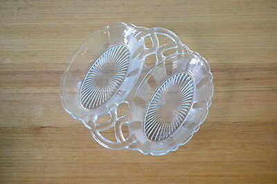 Vintage cut glass dish serving tray tableware pressed glass tableware bowl