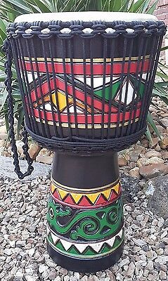 DJEMBE Hand Drum Pro African Traditional Painted 65cm HUGE 32cm Face. FREE BAG