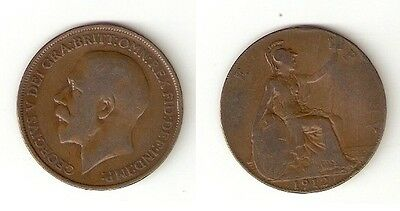 British One Penny Coin 1912 George V