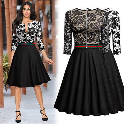 Women's Retro Style Floral Lace Evening Party Business Slim A-line Swing Dress