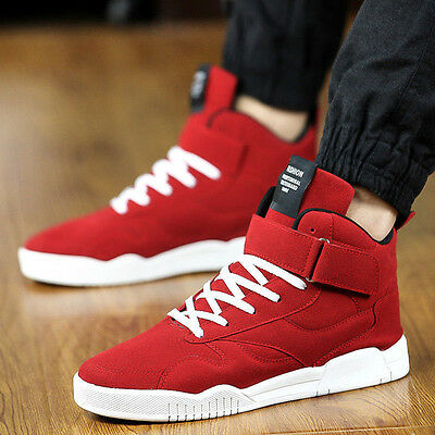 Fashion Men's Casual High Top Sport Sneakers Athletic Running Shoes Leather Boot