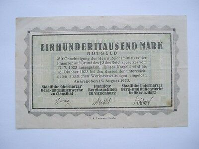Clausthal+Städte 100000 Mark 15.8.1923