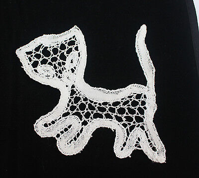 Hand made bobbin lace cat motif  Dressmaking Animal 10cm high approxB46