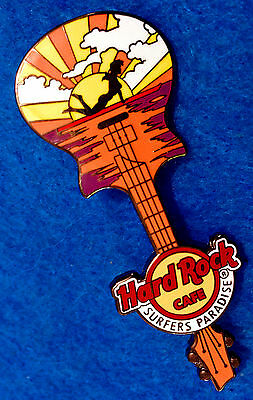SURFERS PARADISE SILHOUETTE SURFBOARD GIRL GUITAR 2017 Hard Rock Cafe PIN LE100