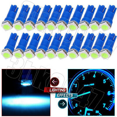 50X Ice Blue T5 1SMD LED Car Wedge Dashboard Instrument Panel Gauge Light Bulbs
