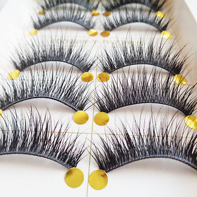 New 10 Pairs Natural Long Fake Eye Lashes Handmade Thick False Eyelashes Makeup