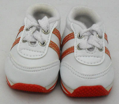 White Sneaker w Red Glitter Stripe Doll Shoes 4 Baby Alive / Baby Born
