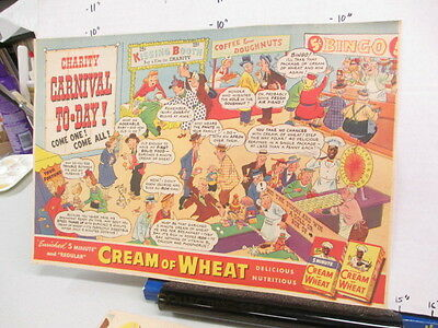 newspaper ad 1942 American Weekly CREAM OF WHEAT cereal box comic carnival