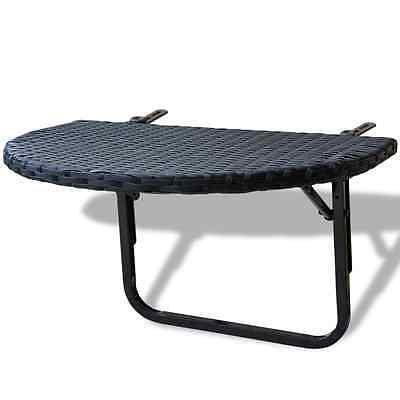 S#PE Rattan Balcony Desk Coffee Drink Hanging Table Foldable Semi-Circular Black