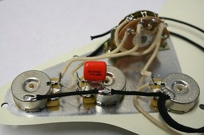 New Pre-wired Stratocaster 5-way wiring harness CTS pots orange drop cloth wire