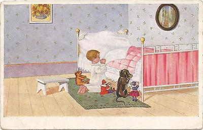 Dogs, Teddy Bear, Girl Praying with a Dachshund, Teddy and Dolls, Funny Old Pc.