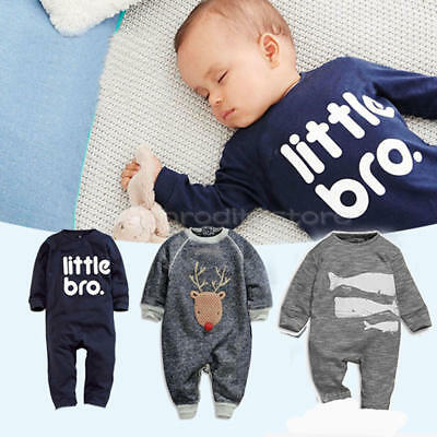 Newborn Baby Boys Girls Long Sleeve Bodysuit Romper Jumpsuit Outfits Clothes