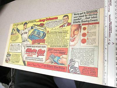 newspaper ad 1950s baseball Gillette razor JERRY COLEMAN NY Yankees
