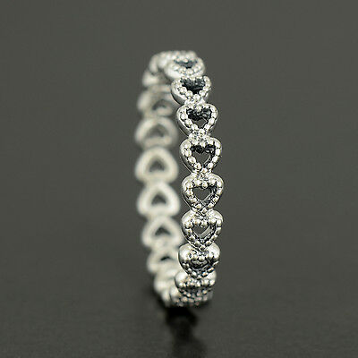 Authentic Genuine Pandora Silver Linked Love Ring - Size 60 - 190980