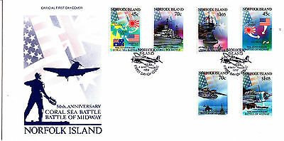 Norfolk 1992 50th Anniversary Coral Sea Battle & Battle of Midway FDC