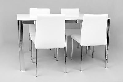 Roma High Gloss Glass White Dining Table with 4 Chairs  - RRP £549