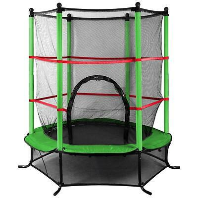 Green 4.5FT Junior Trampoline With Enclosure Safety Net Kids Children Activity